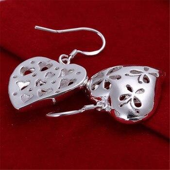 Beautiful women favorite fashion Heart wedding Lovely silver color heart earrings high quality fashion jewelry E217 3