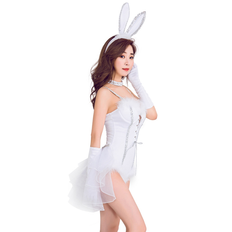 JYZCOS Women 39 s Sexy Bunny Cosplay Costume Rabbit Uniform Temptation Jumpsuit Halloween Costumes Nightclub Rabbit Girl Costume