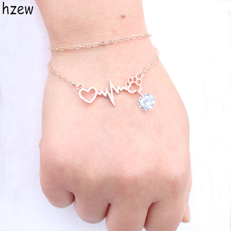 hzew 1pcs drop ship Beautifully Animal vintage jewelry Zircon Cats and Dogs <font><b>Paws</b></font> and heart Heartbeat <font><b>bracelet</b></font> <font><b>Paw</b></font> <font><b>bracelets</b></font> image