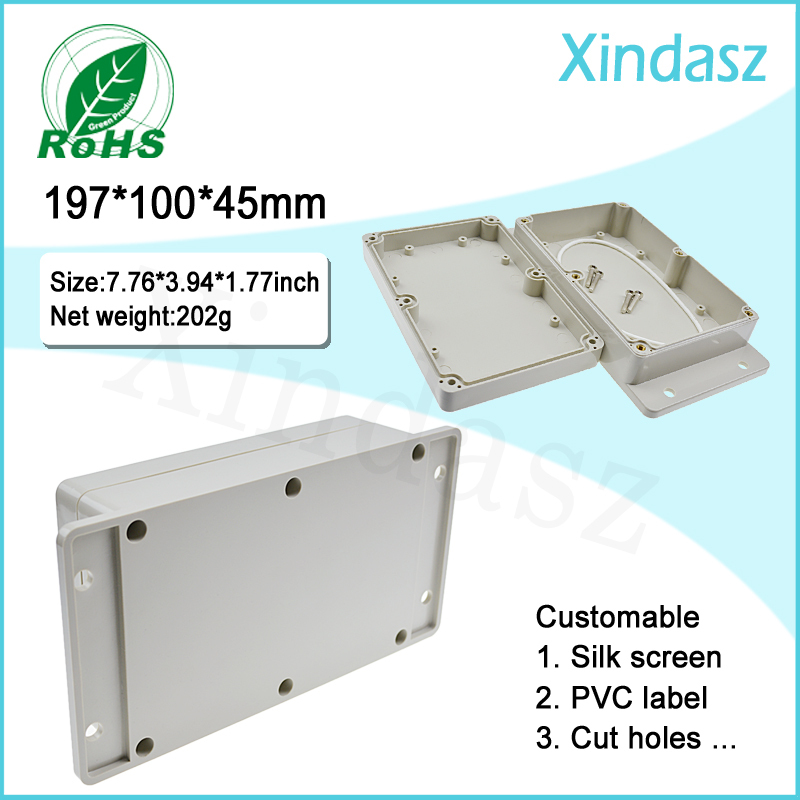 197*100*45mm High quality Wall-mounting Plastic waterproof box wall mount plastic enclosure plastic project box 4pcs a lot diy plastic enclosure for electronic handheld led junction box abs housing control box waterproof case 238 134 50mm