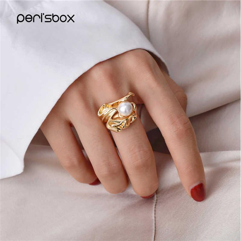 Peri'sBox จำลอง Pearl Gold ย่นแหวนผู้หญิงที่ไม่ซ้ำกันการออกแบบ Statement แหวน Boho เครื่องประดับที่มีชื่อเสียง