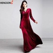8200dc8b85df4b Wijn Rode Herfst Winter Jurk Fluwelen Wedding Party Jurken Vestido Vrouwen  Elegante Casual Lange Mouw Vintage