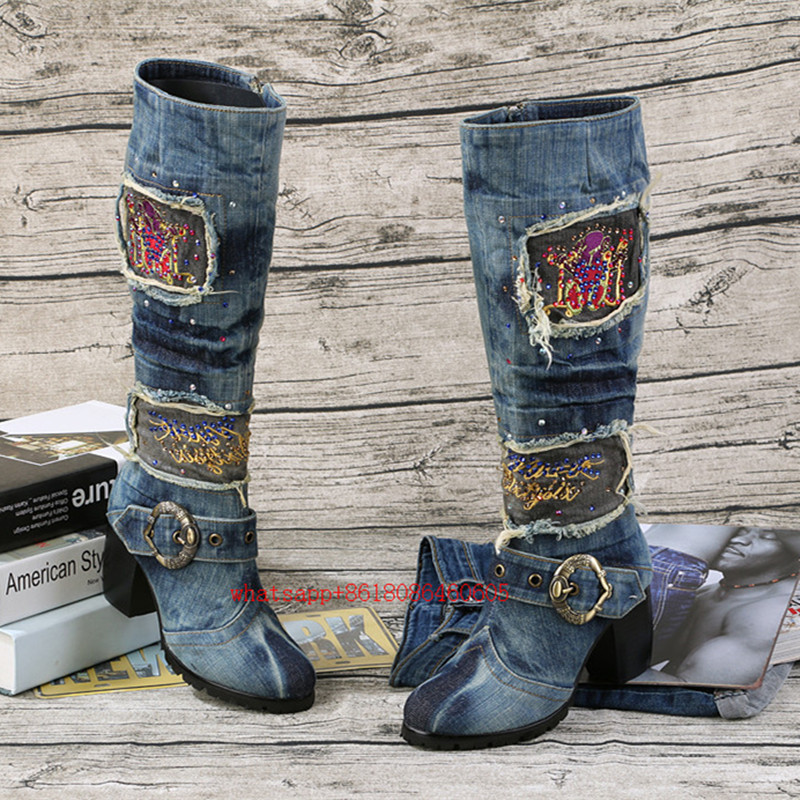 Zapatos Mujer Thigh High boots over the knee long boots chunky high heel blue denim boots jeans cowboy boots zapatillas mujer