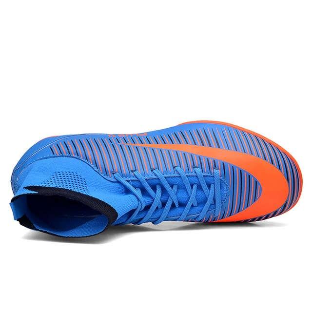 Crianças Menino Meninas Sapatos de Futebol Ao Ar Livre Chuteiras TF FG Top  Tornozelo Botas 99155250d88b8
