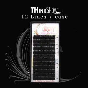 Thinkshow 12Rows Individual Silk Eyelash Extension 3D Russia Thick Eye Lash Extension Volume Lash Extension Natural Long Eyelash