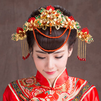 Traditional Hair Jewelry Chinese Classical Costume Bride Headdress Frontlet Wedding Coronet Hairpin Step Shake
