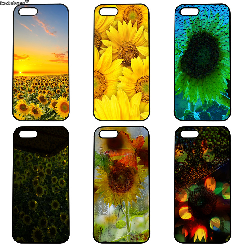 Cute Sunflower Floral Flower Mobile Phone Case Hard PC Cover for iphone 8 7 6 6S Plus X 5S 5C 5 SE 4 4S iPod Touch 4 5 6 Shell