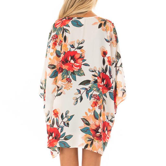 New Fashion Women Blouse Long Sleeve Casual Tops Autumn Chiffon Shawl Print Kimono Cardigan Top Cover Up Blouse Beachwear