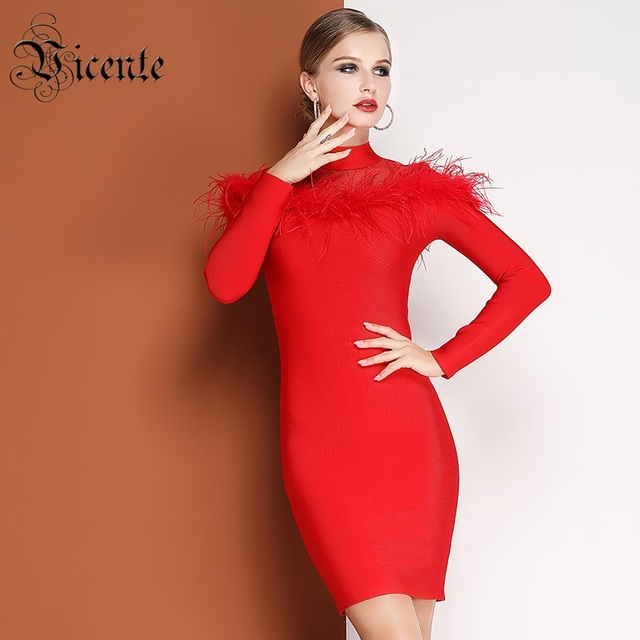 af77390b356e0 US $94.98 |Vicente HOT Chic Feather Design Mini Dress Long Sleeves Sexy  Mesh Splicing 2019 New Wholesale Celebrity Party Bandage Dress-in Dresses  from ...