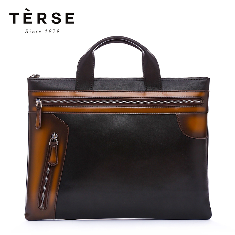 TERSE Men's Briefcase Handmade Genuine Leather Handbags Business OL Briefcase Patchwork Brief Totes Large Capacity 9708