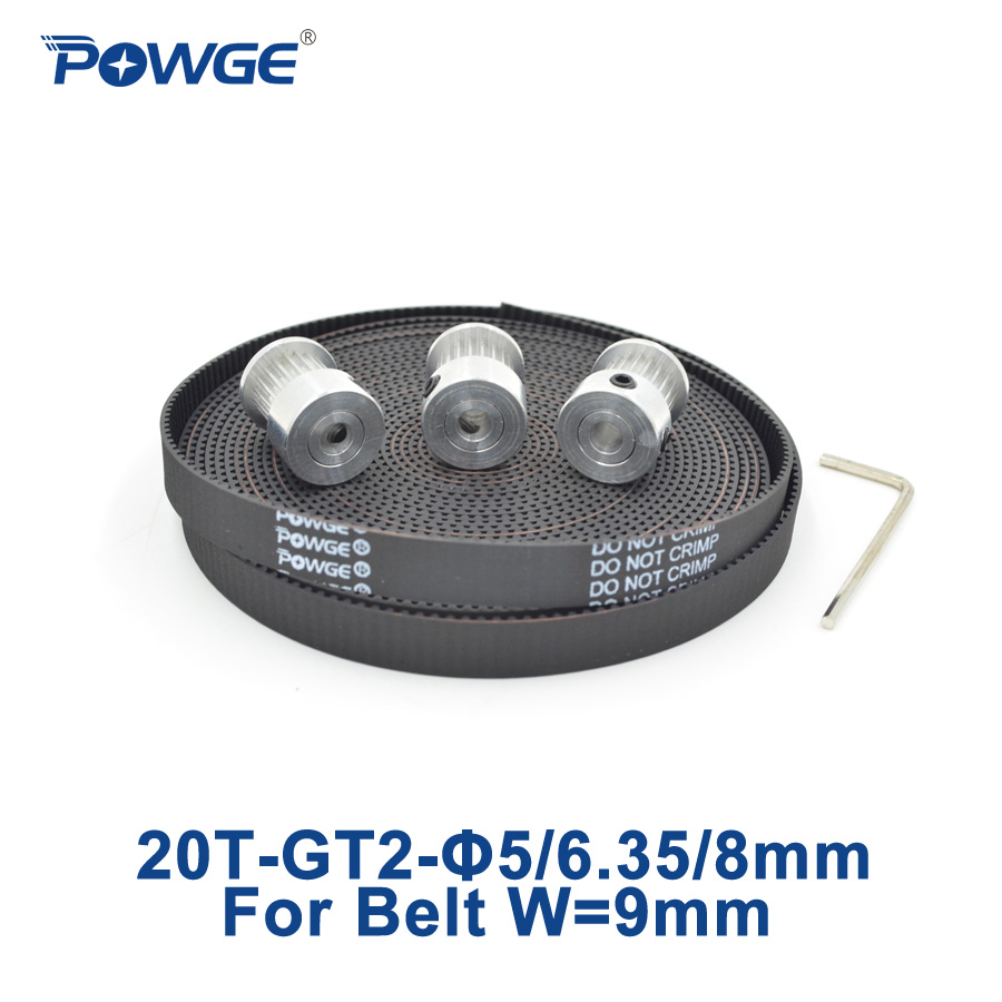 все цены на POWGE 3pcs 20 teeth GT2 Synchronous Pulley Bore 5mm 6.35mm 8mm+ 5Meters width 9mm GT2 timing Belt Small backlash 20Teeth 20T