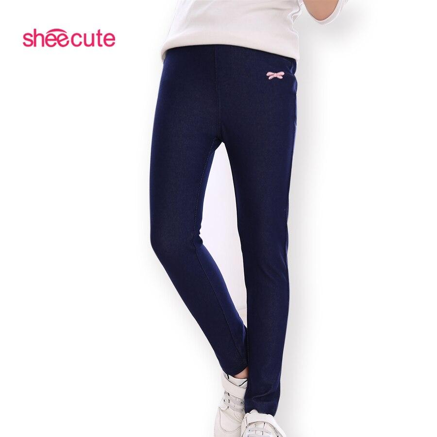 Sheecute Niñas Pantalones niños alta elásticos jeans niños de punto tejidos de mezclilla de imitación lápiz Pantalones vaqueros sch8170