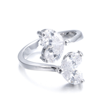 Free shipping new arrival water drop 925 sterling silver & high quality zircon crystal platinum plated female wedding rings