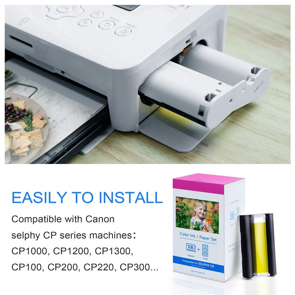 Photo Paper Kp 108in 3 Ink Cassette And 108 Sheets 100x148mm 6 Canon Selphy Cp1000 Compact Printer White Compatible For Printers Cp780 Cp740 In From Computer