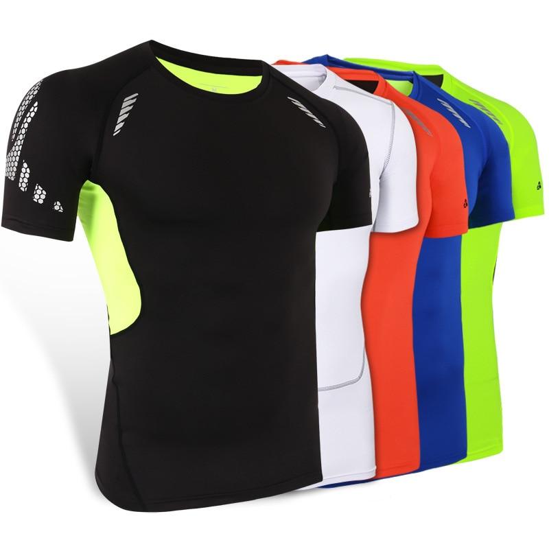 KINGBIKE Men T Shirt Summer Brand Clothing Anti Sweat Breathable Fitness Polyester Gym T Shirt Running