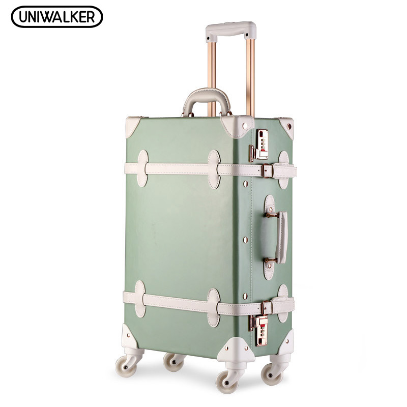 20222426 Drawbars&PU Leather Retro Luggage Scratch Resistant Travel Trolley Case Rolling Luggage Bags Suitcase On Wheels 20 26 dark green vintage suitcase pu leather travel suitcase scratch resistant rolling luggage bags with universal wheels
