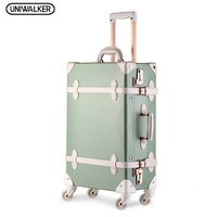 20222426 Drawbars&PU Leather Retro Luggage Scratch Resistant Travel Trolley Case Rolling Luggage Bags Suitcase On Wheels
