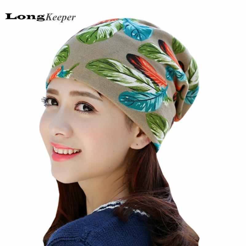 LongKeeper 2017 új női kalap sál csíkos sapka tavaszi és őszi skullies női kerek Beanie