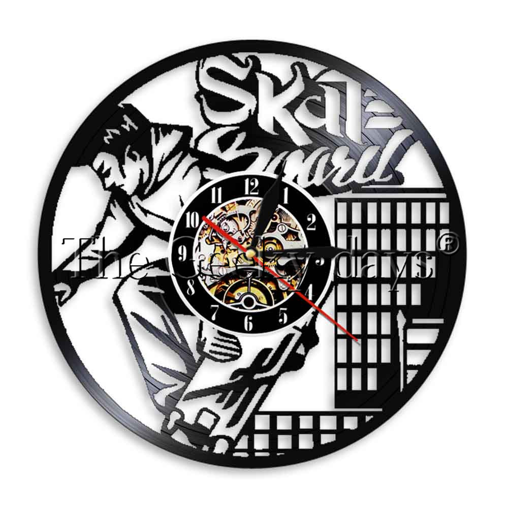 1piece skateboard wall clock vinyl record wall clock sport led light 1piece skateboard wall clock vinyl record wall clock sport led light wall art atmosphere living room decorative gift for skater in wall clocks from home aloadofball Image collections