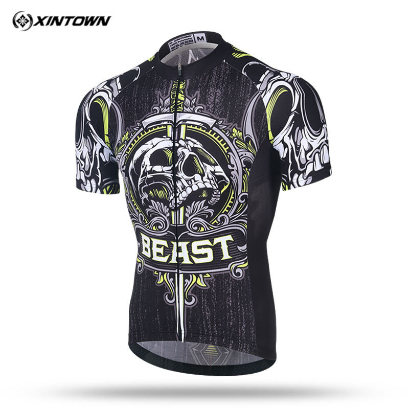 Xintown 2019 Skull Short Sleeve Cycling Jersey Men mtb Bike Jersey Shirt Racing Sport Bicycle Cycling Clothing Maillot Ciclismo