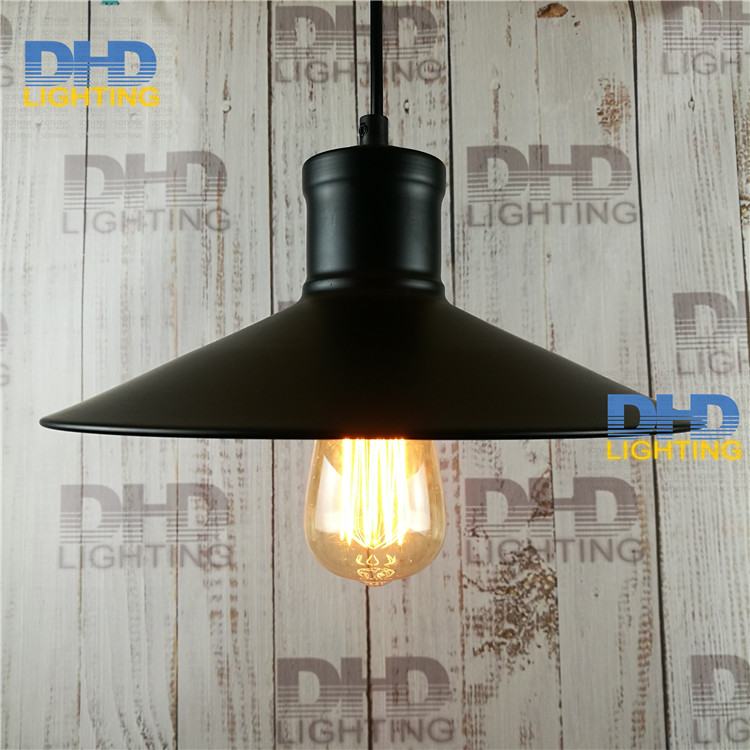 Free shipping 265mm diameter iron black shade vintage pendant light for home decoration edison filament bulb retro lighting
