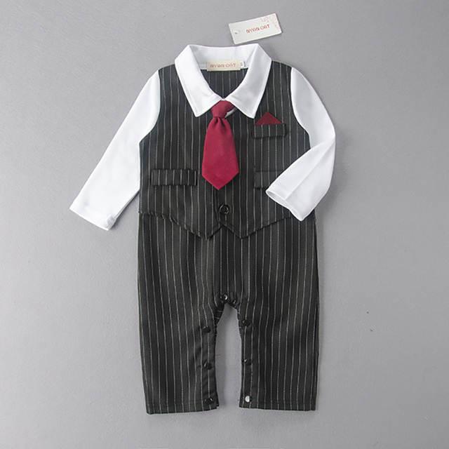 abb2e199 Online Shop Baby Boy Fancy Wedding Formal Gentleman Tuxedo Suit Stripe  Romper Outfit 2017 Children romper 1st birthday infant clothes Set    Aliexpress ...