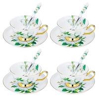 ARTVIGOR Camellia Printed Coffee Cup Set New Bone China Tea Cup&Saucer Gift Sets with Spoons Service for 4person