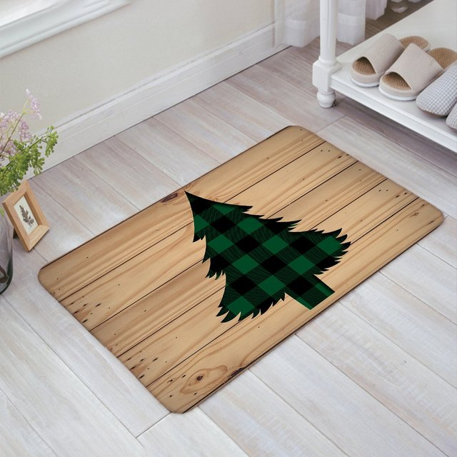 Green Black Buffalo Check Plaid Christmas Tree With Rustic Old Barn Wood Doormat  Welcome Mat Entrance