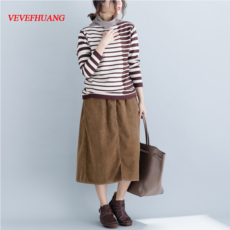 VEVEFHUANG Spring Autumn New Striped Turtleneck Long Sleeve Sweater Womens Loose Casual Elegant Knitting Pullovers Top Plus Size