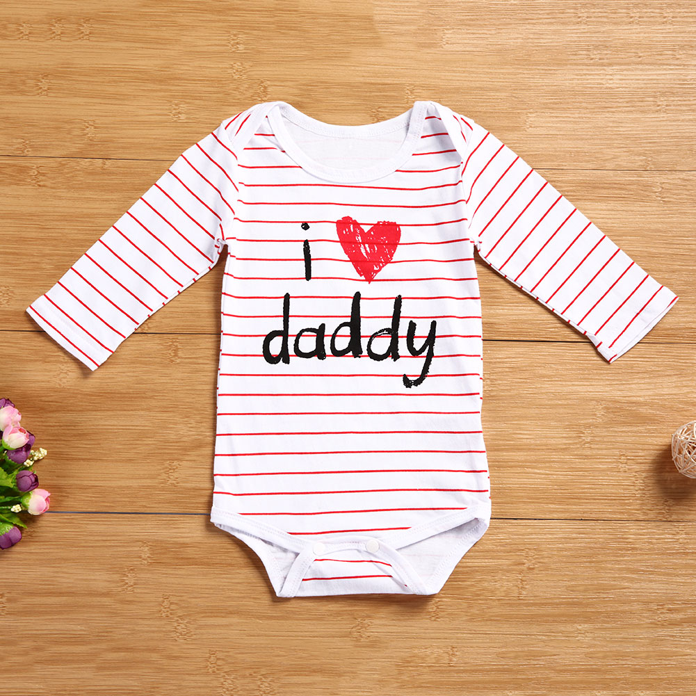 503805734a93 I Love mummy   Daddy Baby Boy Girl Rompers Newborn Infant Clothes ...