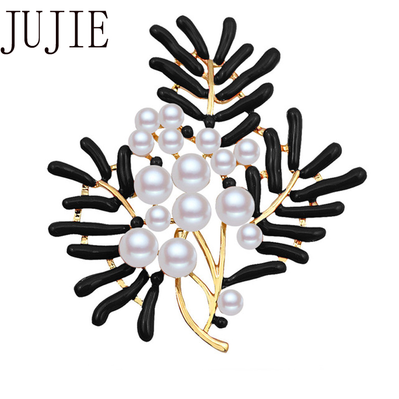 JUJIE Fashion Pearl Flower Brooch For Women Brooches Corsages Exquisite Enamel Pins Jewelry Dropshipping