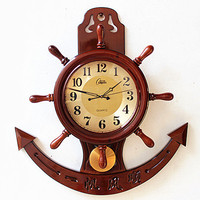 Crafts Arts Home decoration The wood anchor wall wall murals ornaments helmsman living room marine watches creative office decor