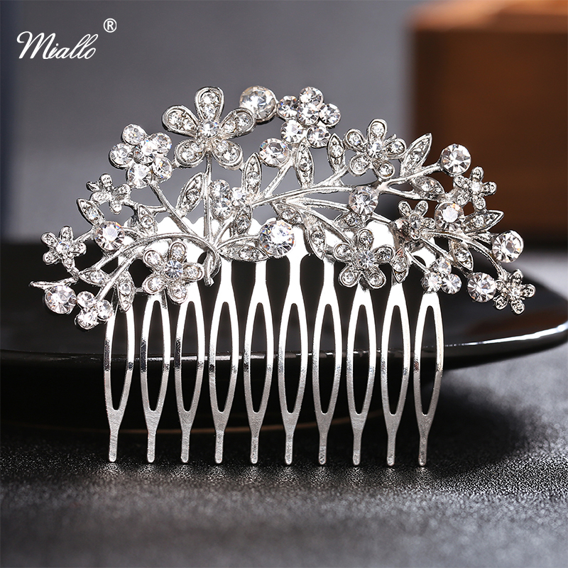 Miallo Clear Rhinestone Crystal Hair Comb Vintage Flower Wedding Jewelry Hair Accessories Headdress Barrette Hairpins 7.5×5.5cm