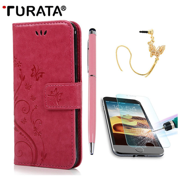 """Flip Leather Case For iPhone 6 6S 4.7"""" Stand Wallet Cover +3D Glitter Dust Plug+Tempered Glass Screen Protector Film+Stylus Pen"""