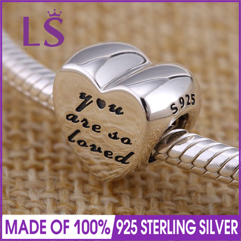 LS New Arrival Real 925 Silver You Are So Loved Charm Beads Fit Original Bracelets Pulseira Encantos.100% Fine Jewlery.J