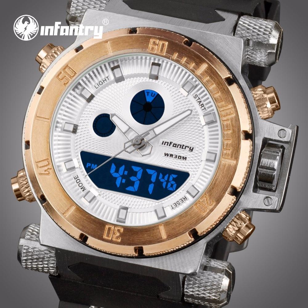 Gold Big Military Analog Digital Watch For Men Aviator Sport