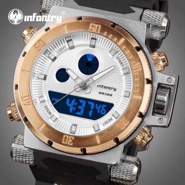 8e120501381 INFANTARIA Mens Relógios Top Marca de Luxo De Ouro Grande Relógio Militar  Homens Relógio Analógico Digital