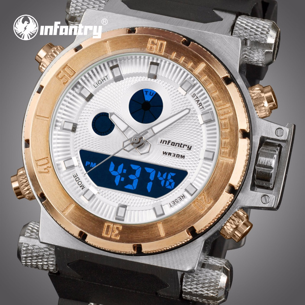 INFANTRY Mens Watches Top Brand Luxury Gold Big Military Watch Men Analog Digital Watch for Men