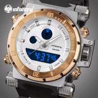 INFANTRY Mens Watches Top Brand Luxury Gold Big Military Watch Men Analog Digital Watch for Men Aviator Sport Relogio Masculino