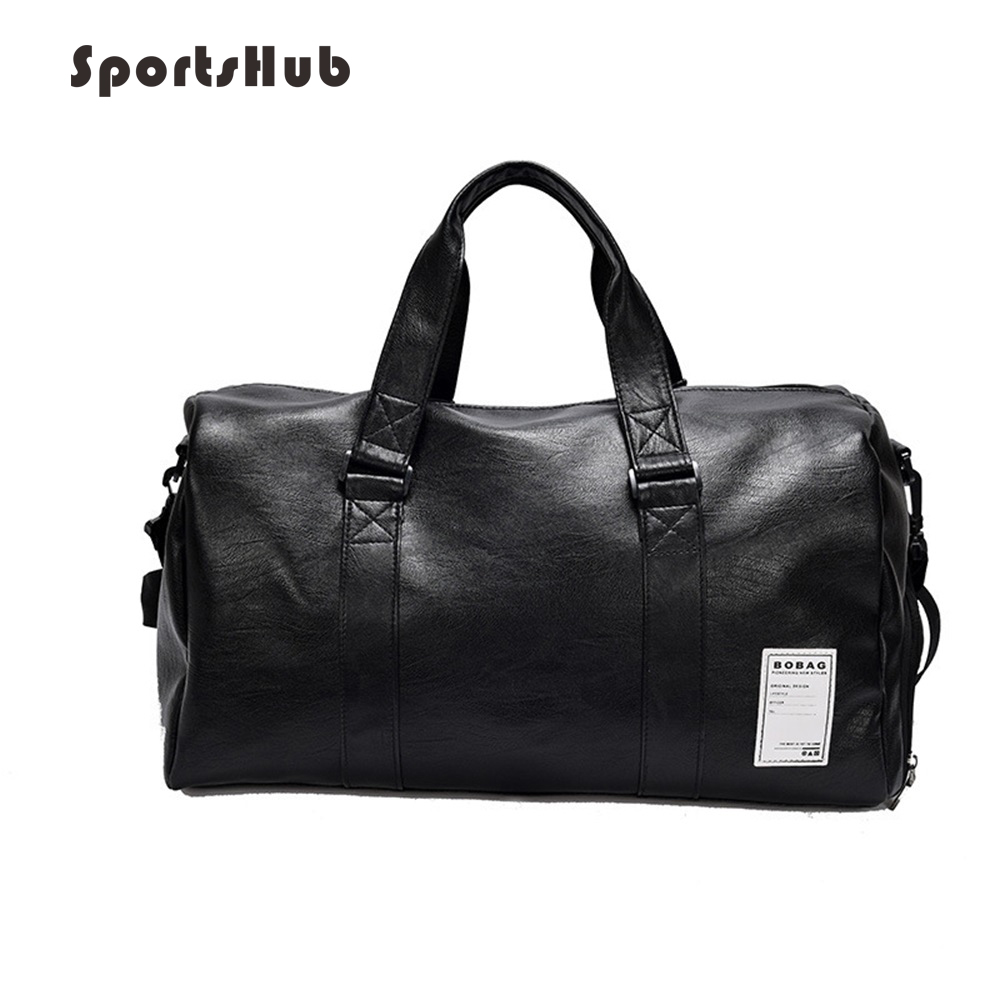 Us 25 47 40 Off Sportshub Top Pu Leather Men S Sports Bags Gym Classic Handbag Fitness Travel Workout Shoulder Bag Sb0021 In
