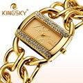 Meninas Vestido de Marca de luxo Mulheres Relógio de Pulso Senhoras Pulseira de Relógios de Ouro Relógios de Quartzo de Aço Relógios de Pulso Relógio Reloj Mujer