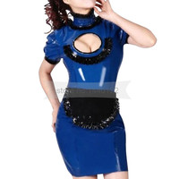Dark blue and black trims women latex dress with apron with back zip maid dress BNLD250