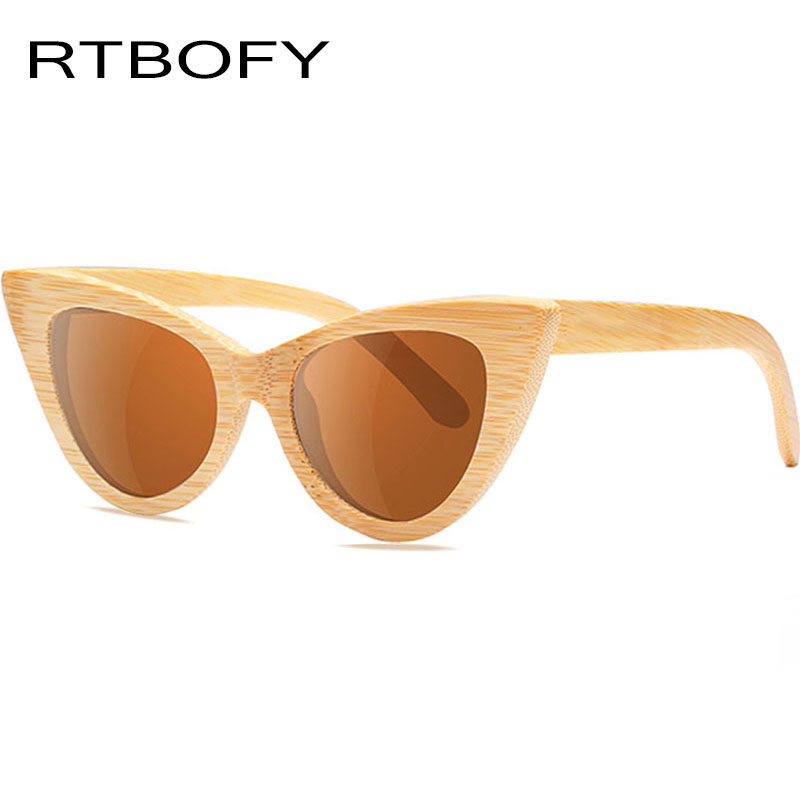 RTBOFY Brand Design Cat Eye Wood Sunglasses Women Polarized Mirror Glasses Bamboo Frame Handmade UV400 Vintage Shades Eyewear