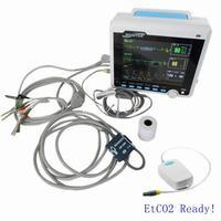 CE утвержденный CONTEC CMS6000 VET монитор пациента ж/CO2, ниад + SPO2 + RESP + Temp + ЭКГ + ETCO2