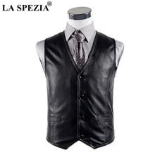 LA SPEZIA Black Vest Men Genuine Sheepskin Leather Slim Fit Sleeveless Jacket Male Real Luxury Autumn Winter Waistcoat