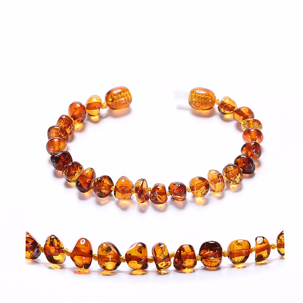Baltic Amber Teething Armband för Baby - Enkelt Paket - Lab-Tested Authentic - 2 storlekar - 10 färger