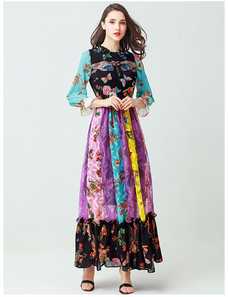 Butterfly insect sequins embroidered dress 2018 spring new high-quality lace stitching floral print dress retro hit color women