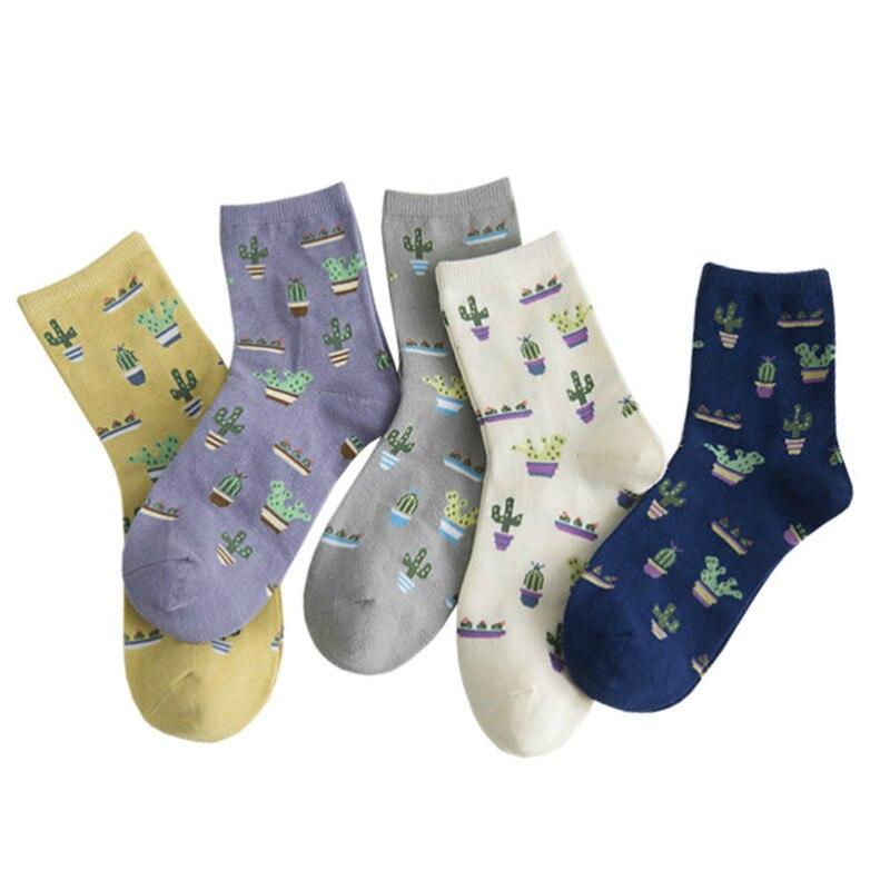 Jeseca 1 Pair Cactus Print Cotton   Socks   Women Harajuku Vintage Streetwear Ankle Sox Japanese Kawaii School Students Cute   Sock