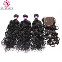 Brazilian Hair With Closure Water Wave Human Hair Weave 3 Bundles With Lace Closure 4 Pcs