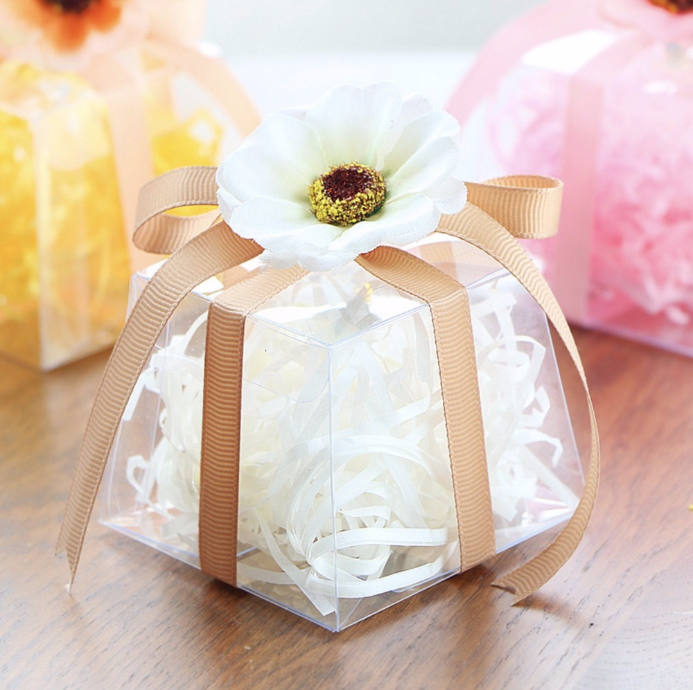 New 6*7*7cm 10pcs Clear Plastic PVC Candy Box with Ribbon and Flower ...